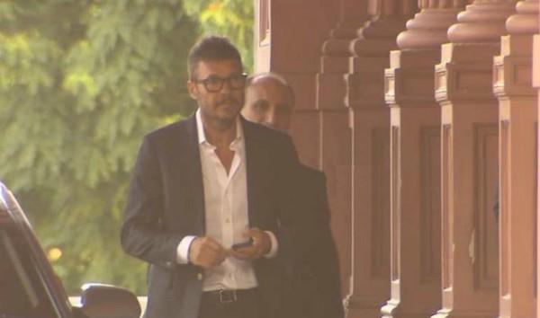 Marcelo Tinelli estuvo ayer en Casa Rosada. (imagen TN)