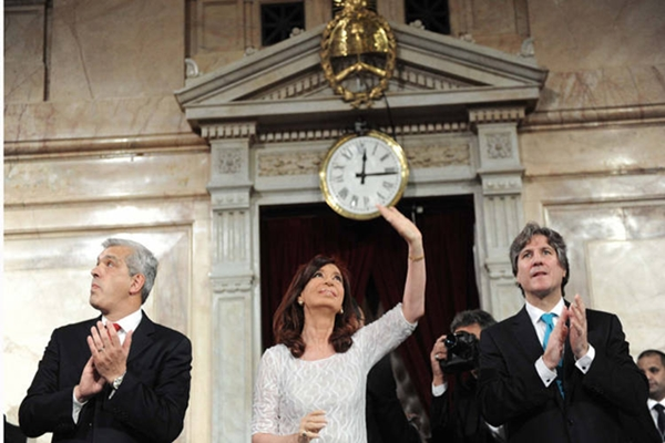 La presidente Cristina Fernández de Kirchner abrió junto al Vicepresidente Amado Boudou y el presidente de la Cámara de Diputados Julián Dominguez el 132º período de sesiones ordinarias del Congreso Nacional